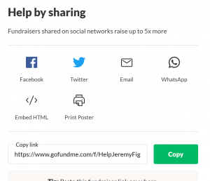 GoFundMe page share screen