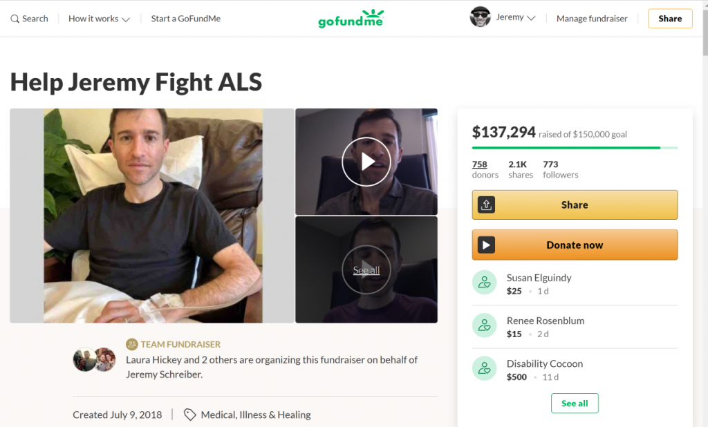 How to set up a GoFundMe page - Jeremy's GoFundMe campaign as an example